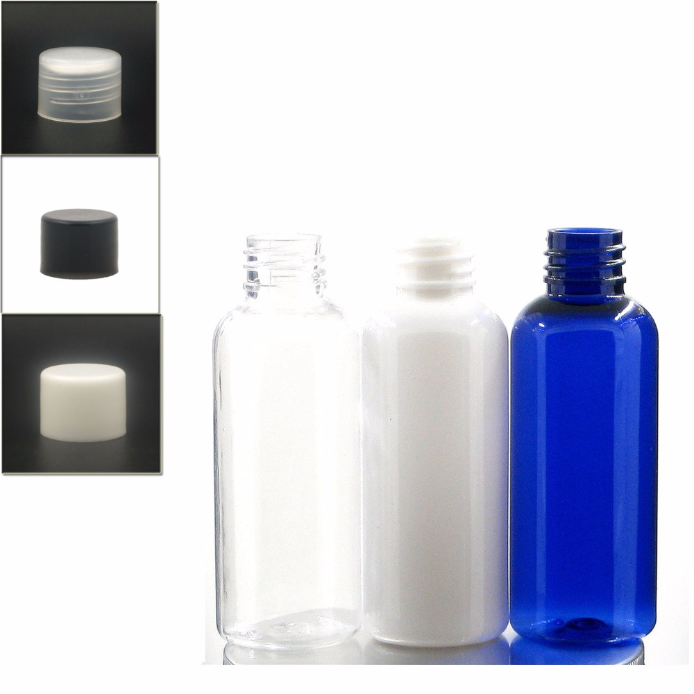 50ml Empty Plastic Bottles, Blue/white/clear PET Bottle With White/black/transparent Smooth Lid Plastic Bottle X 5