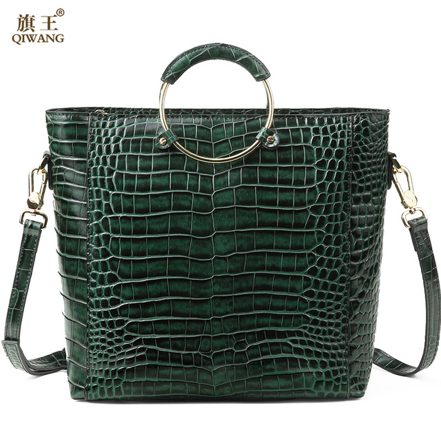 Qiwang Green Brand Design Handbag Women Crocodile Round Handle Tote Bags  Rich Leather Shell Bag for e9d0a73d21b08