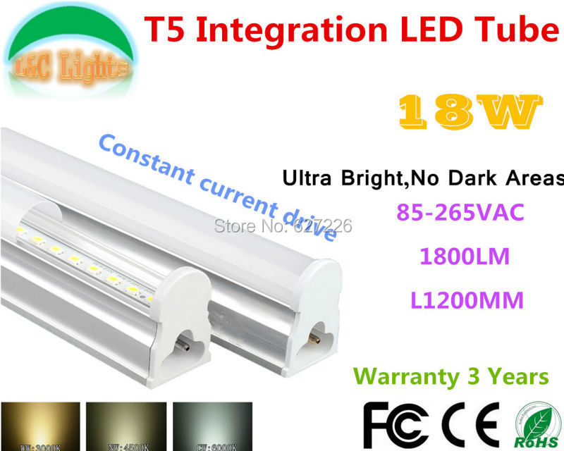<font><b>18W</b></font> Ultra Bright No Dark Areas <font><b>T5</b></font> Integration <font><b>LED</b></font> Tube CE RoHS Shopping plaza lights Supermarkets energy-saving lamp 10PCs a Lot image