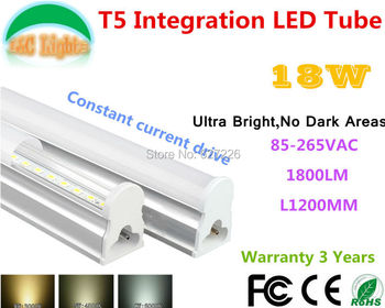 18 W Ultra brillante No las zonas oscuras T5 integración tubo LED CE RoHS plaza de compras luces supermercados de ahorro de energía lámpara 10 piezas por lote