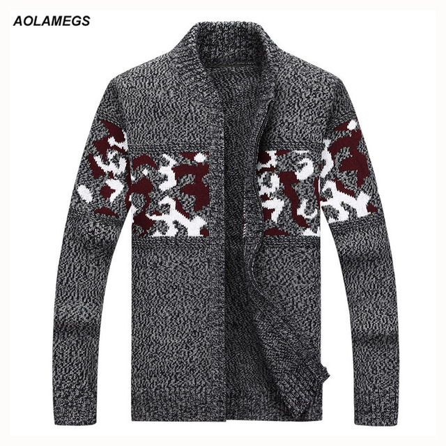 Aolamegs Men Casual Sweater Knitted Sweater Cardigan Jacket Fashion Camo  Jacquard Men's Knitting Outwear High Quality
