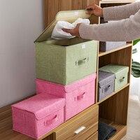 Большая складная коробка для хранения из хлопчатобумажной ткани, складные ящики, игрушки, органайзер с крышками и ручками, корзина для гряз...