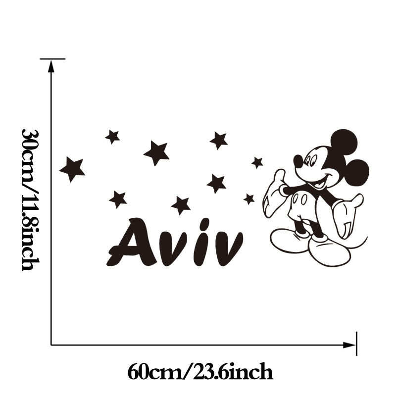 US $4.52 32% OFF|Mickey Mouse wandaufkleber Personalisierte Stil Jeder Name  wandtattoo, wandkunst tapete Kundenspezifische Farbe Baby Wandtattoos ...