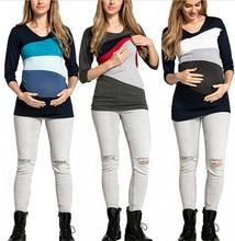 Women Maternity Pregnancy Clothes T shirt Breastfeeding Tops Color Splice Pregnancy Nursing Tops