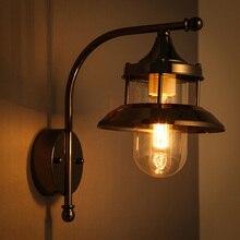 hot deal buy modern industrial style wall lamps wrought iron glass wall lamp living room balcony corridor lighting wall light za90730