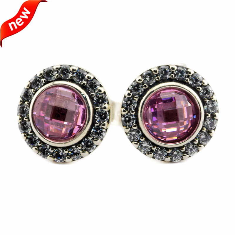Fits European Jewelry Silver 925 Earrings for Women Silver Brilliant Lagacy Stud Earring with Pink CZ DIY Charms Wholesale