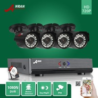 ANRAN Surveillance 4CH HDMI 1800N AHD DVR 500GB HDD 1800TVL 720P 24 IR Night Waterproof Bullet