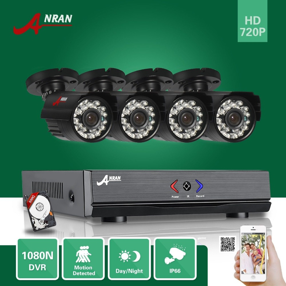 ANRAN Surveillance 4CH HDMI 1800N AHD DVR 500GB HDD 1800TVL 720P 24 IR Night Waterproof Bullet