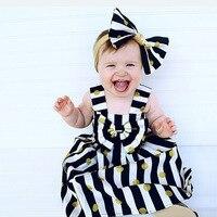 Retail Baby Girls Dress Headdress Set 2017 New Fashion Summer Princess Striped Bow Dresses Infant Girl