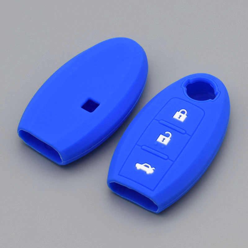 Siliconen Autosleutel Beschermhoes Voor Nissan X-Trail Pathfinder Juke Alissa Qashqai Micra Cube Blad J11 Pulsar C13 remote Beschermen
