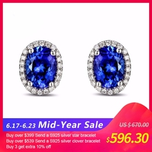 14k White Gold 2.71ct Violetish Blue Tanzanite & Natural Diamond Engagement Earrings Stud