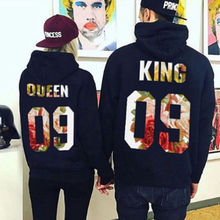 King and Queen Print Couple Hoodie Sweatshirts Pullover Long Sleeve Jumper Matching Hoodies Womens Clothes father christmas and snowflake print long sleeve hoodie