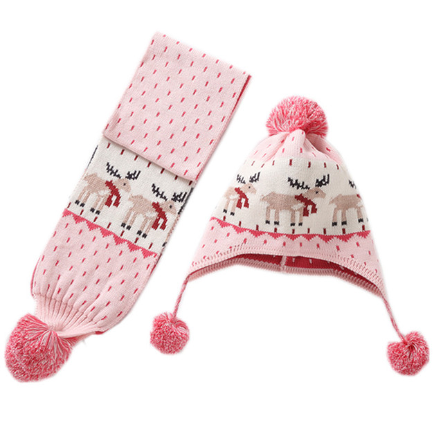 d6aaefa412621 0 to 6 years baby   kids girl reindeer hat scarf sets children fashion fall  winter pink beanie hat with scarf 2 piece set
