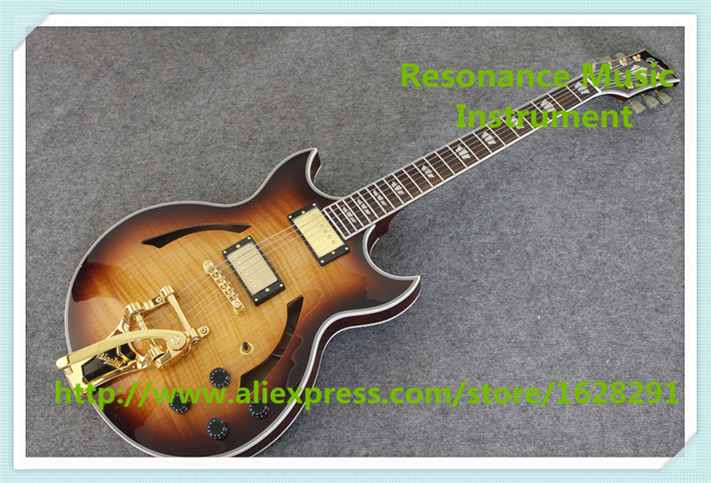 Free Ship Sunset Glow Tiger Flame ES Classical Johnny A Signature Hollow Body Electric Guitar China Custom Available