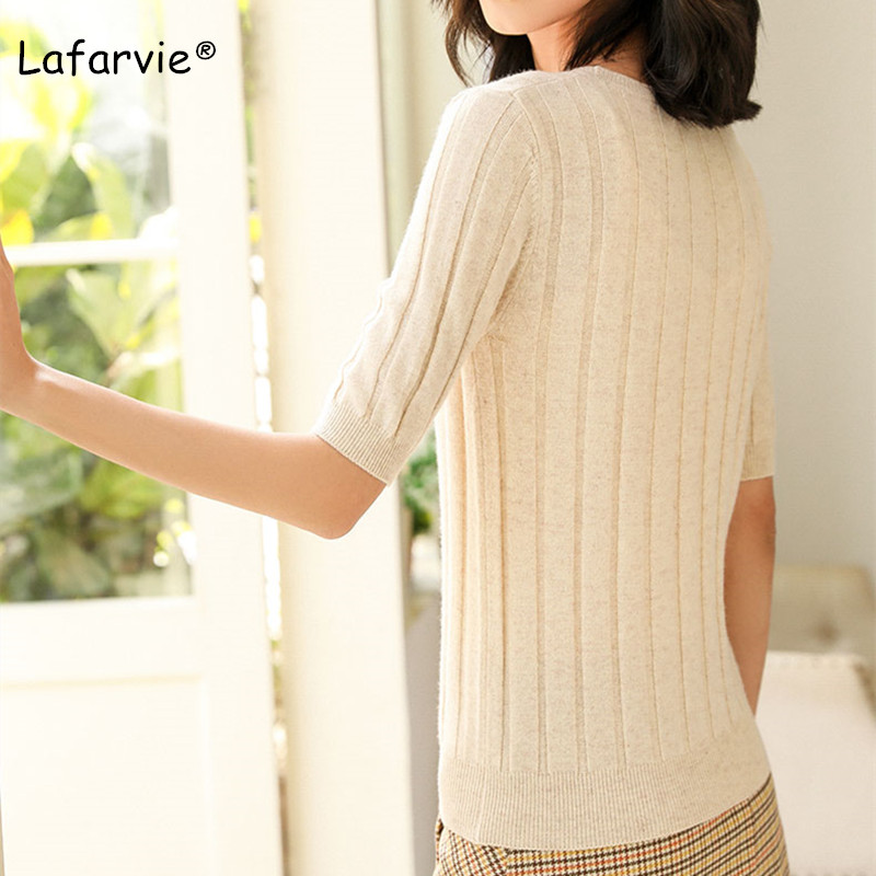 Lafarvie O neck Knitted Wool Blended Sweater Women Short Sleeve Pullover Casual Soft Slim Solid Color Large Size Pull Jumper in Pullovers from Women 39 s Clothing