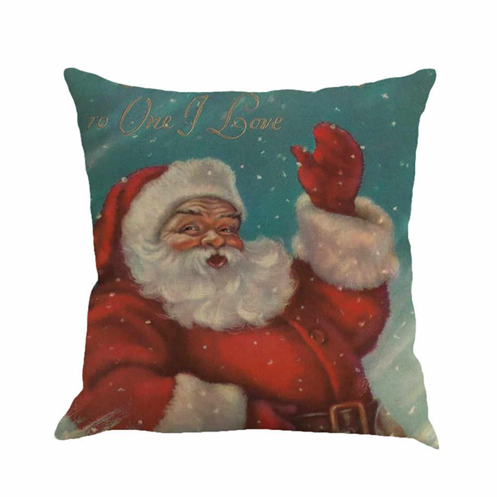 Natal Festival Bantal Santa Claus Gambar Pencelupan Sarung Bantal Sofa Cover Kamar Tidur Natal Bantal Cover N082