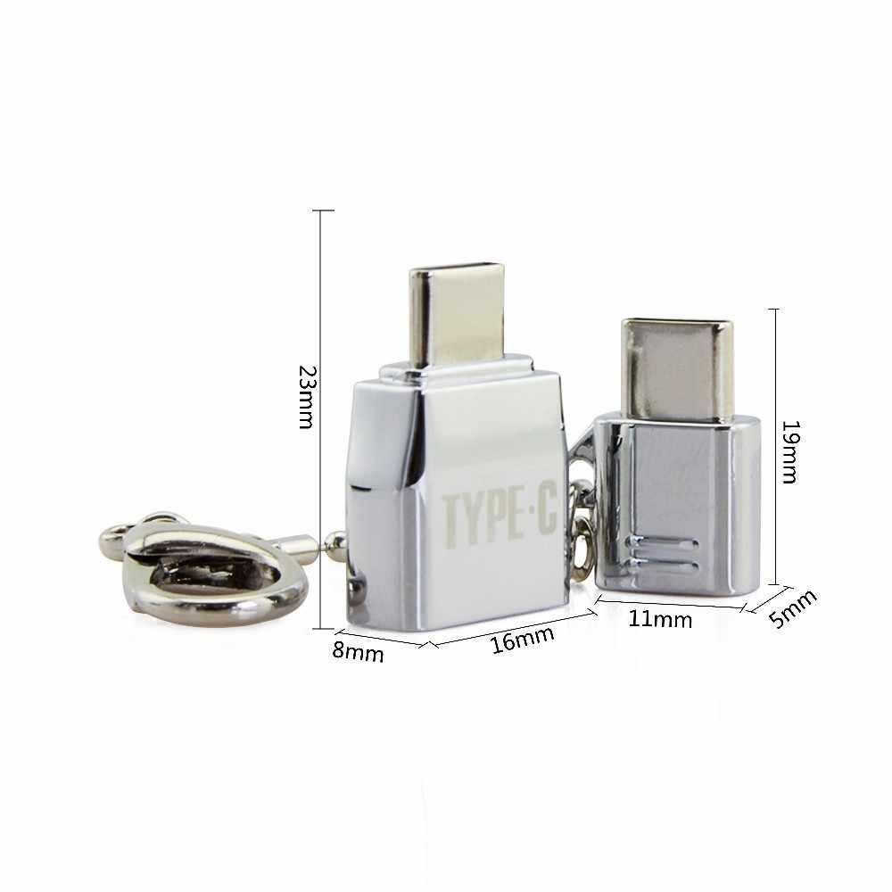 CHYI Mini USB à type-c adaptateur convertisseur Type C OTG à Micro USB Combo métal argent USB Hub pour SmartPhone PC ordinateur MacBook