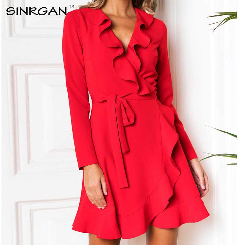 SINRGAN Красный синий рюшами А линия сексуальное клубное вечернее платье женские платья Modis весна-лето платья 2019 нарядное платье элегантный