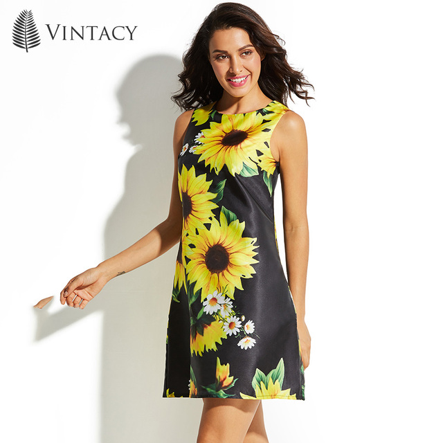 Vintacy Women Black Fl Mini Dress Sleeveless Large Sizes A Line Short Beach Sundress Sunflower Fashion