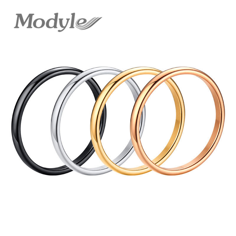 Modyle 2mm Thin Rings Female Jewelry Black Silver Color Rose Gold Color Stainless Steel Elegant Party Tail Ring for Woman(China)