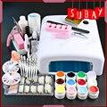 New Pro 36W UV GEL White Lamp & 12 Color UV Gel Nail Art Tool Kits manicure set