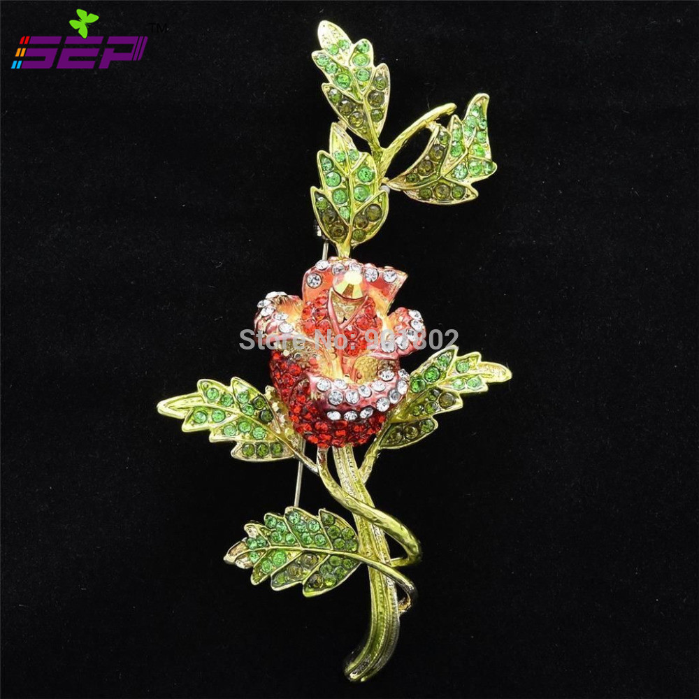 On Sale Vintage Rose Brooches Rhinestone Crystal Brooch Pins for Women Jewelry Birthday Gifts 4754