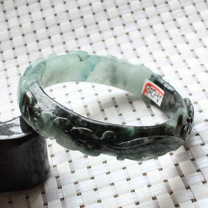 1202จีนแกะสลักมรกตสีเขียวหยกJadeiteอัญมณีกำไลสร้อยข้อมือ60มิลลิเมตร