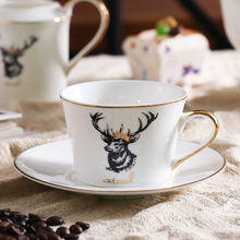 200 ml luxury elk style ceramic bone china coffee tea Cup Saucer with gold line