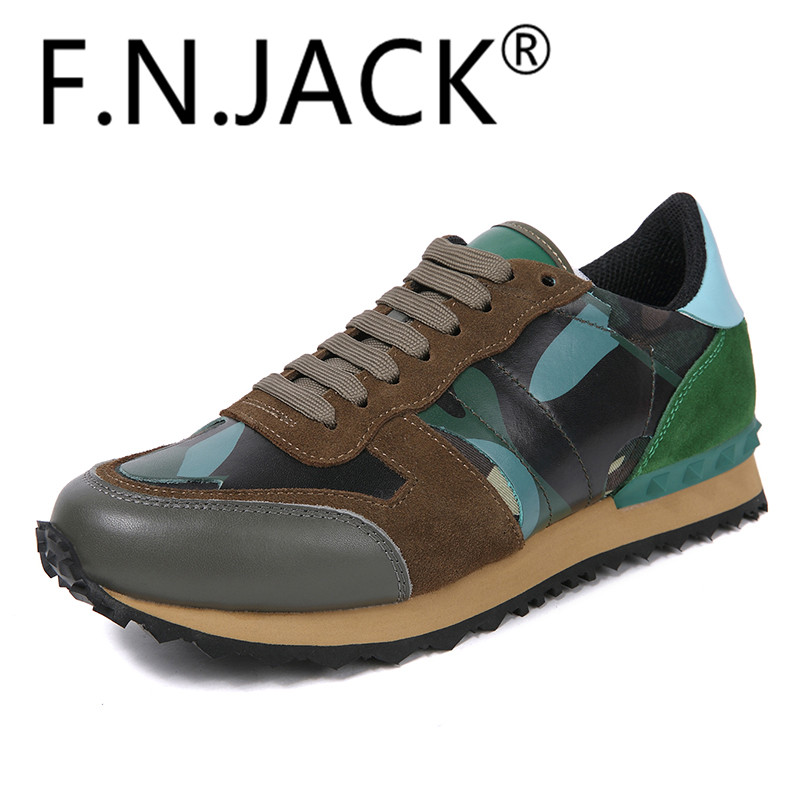 Camouflage Print Panelled Trainers F.N.JACK Men Suede Sneakers Men's Camo Shoes camo print dip hem top