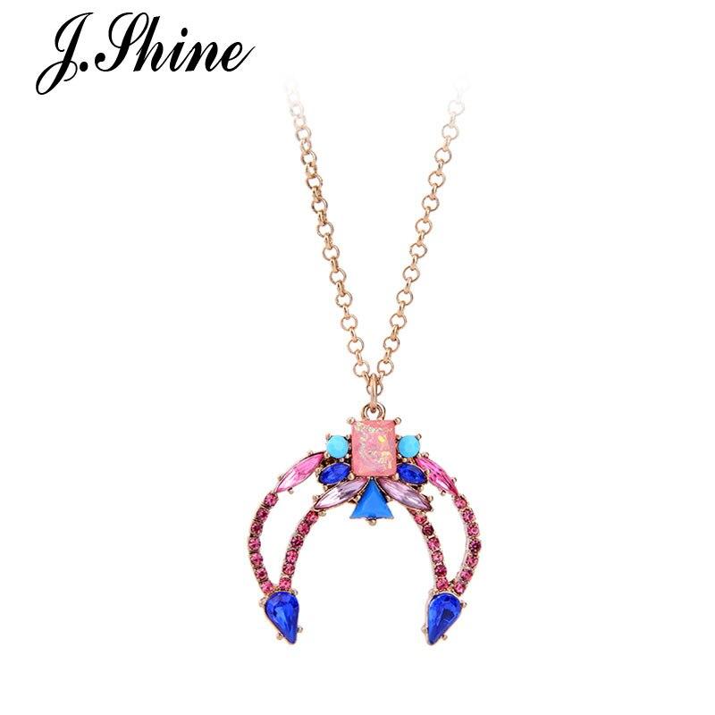 Jshine в сдержанном стиле Цвет ful геометрические Длинные Золотой кулон Цвет ссылка Цепи для Wonder Woman Модные украшения Bijoux