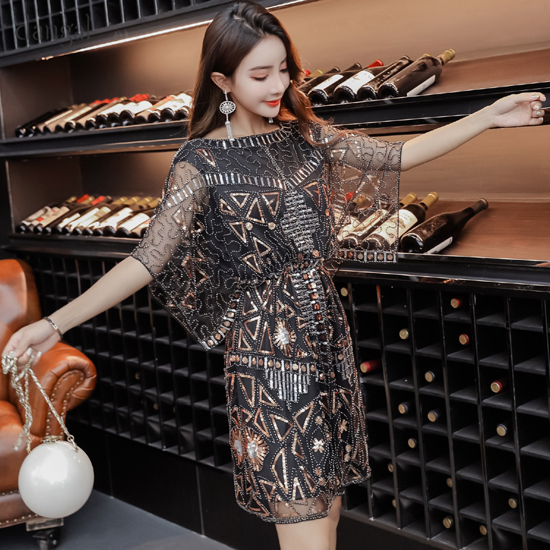 Us 26 27 29 Off Dangal Sequin Dress With Embroidery Casual Club Party Elegant Women Summer 2018 Slinky Bodycon Clothes Black In