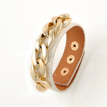 fashion Stylish Gold Chain Link Pale Pink Leather Band Snap Fashion Bangle BraceletT371