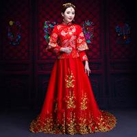 Bride Wedding Cheongsam Red New Traditional Chinese Wedding Gowns Women Phoenix Embroidery Lace Qipao Dress Robe Rouge Kimono