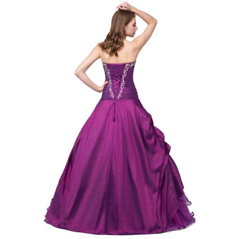 Prêt à expédier violet Quinceanera robe broderie cristaux chérie Vintage robes de bal taffetas debutante robe robe - 2