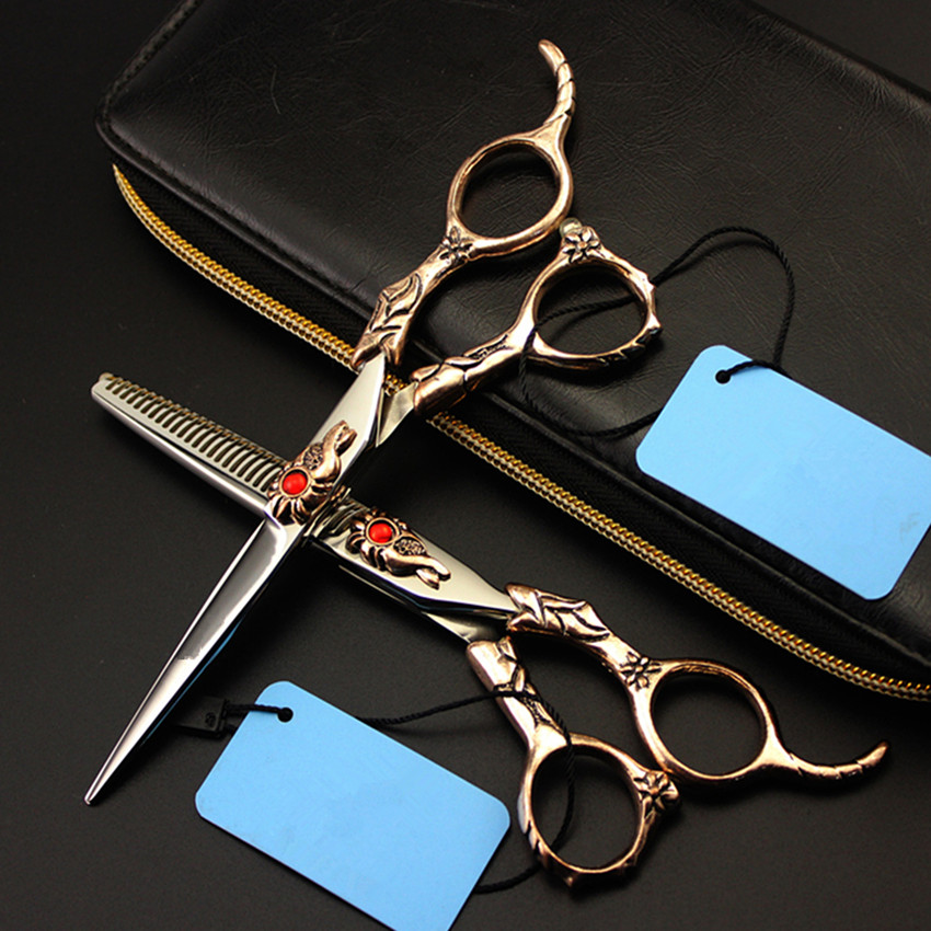 New Professional japan 440c 6 inch Retro Sunflower hair scissors set cutting barber makeup thinning shears hairdressing scissors protective pc case with 5400mah rechargeable lithium battery