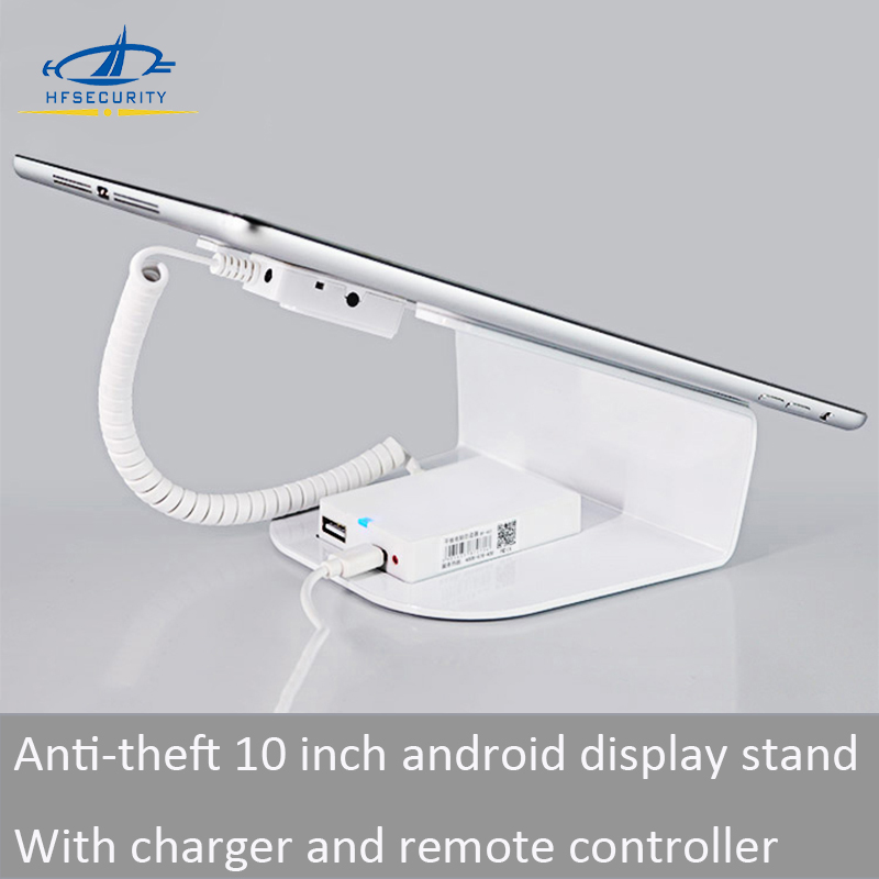 [ HFSECURITY ] 10 Inch Android Pad Anti Theft Alarm Display Stand with Mini Charger Remote Control Locks for Pad Display Stand wholesale price mobile phone anti theft alarm display stand with charging for exhibition