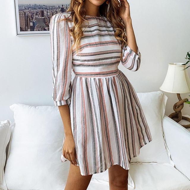 VIEUNSTA Women Mini Striped Dress Summer Spring Half Sleeve O Neck A-Line Dress Female Print Elegant Mini Beach Dresses Vestidos