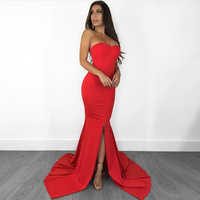 Sexy Strapless Hollow Out Open Back Red Dress Stretch Sleeveless Long Floor Length Party Dress Mermaid Slash Neck Zipper Dress
