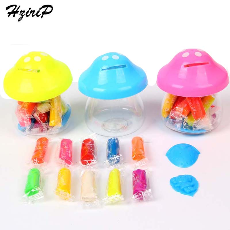 HziriP 10 Colors DIY Slime Toy Sets Safety Modeling Clay Mold Tools Mushroom Box Model Plasticine Learning & Education Toys