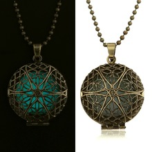 Turquoise Blue Antique Gold Locket Flower Pendant Necklace Glow in the dark Spirituality