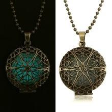 Antique Gold Locket Flower Pendant Necklace Glow in the dark Spirituality