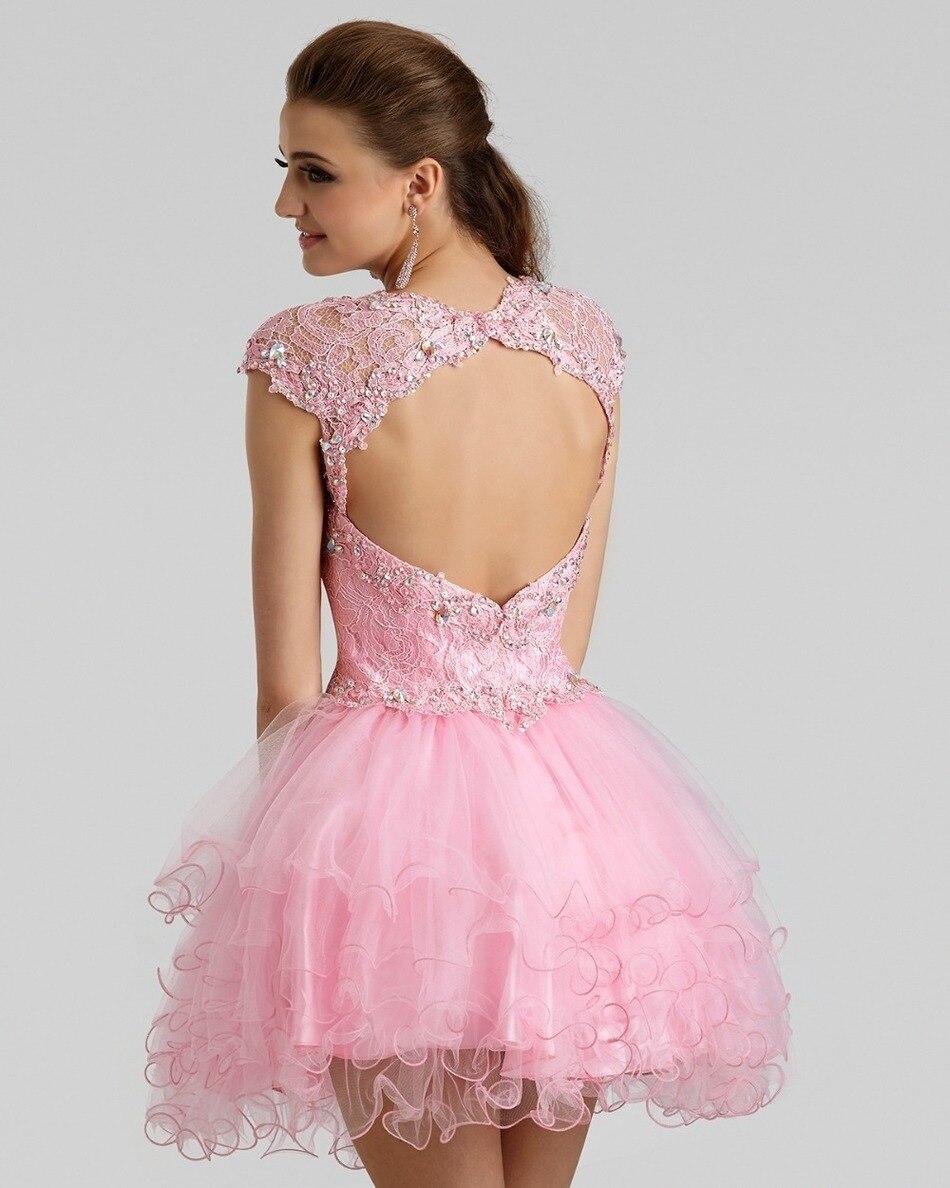 Vestidos de coctel Formales Cutie Corto Una Línea Rosa de Encaje ...