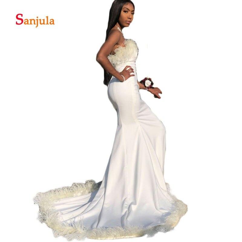 Plumes robes de bal formelles bretelles Jersey sirène robes de bal ivoire longues robes de soirée robe de festa longo D631