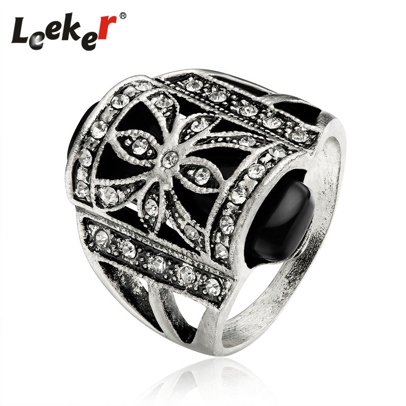 LEEKER Vintage Personality Design Black Opal Finger Rings For Women Antique Silver Color Female Retro Jewelry 93157 LK9