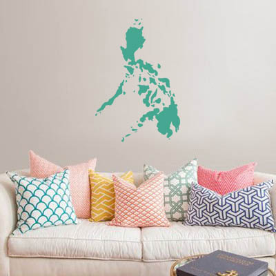 philippines map globe earth country wall vinyl sticker custom made