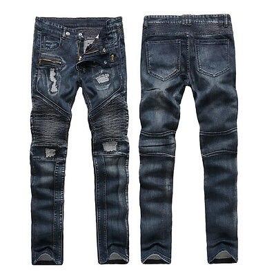 new Fashion Style Motorcycle cool Men Moto Biker Jeans Straight Slim Fit Denim Pants Distressed Blue men s cowboy jeans fashion blue jeans pant men plus sizes regular slim fit denim jean pants male high quality brand jeans
