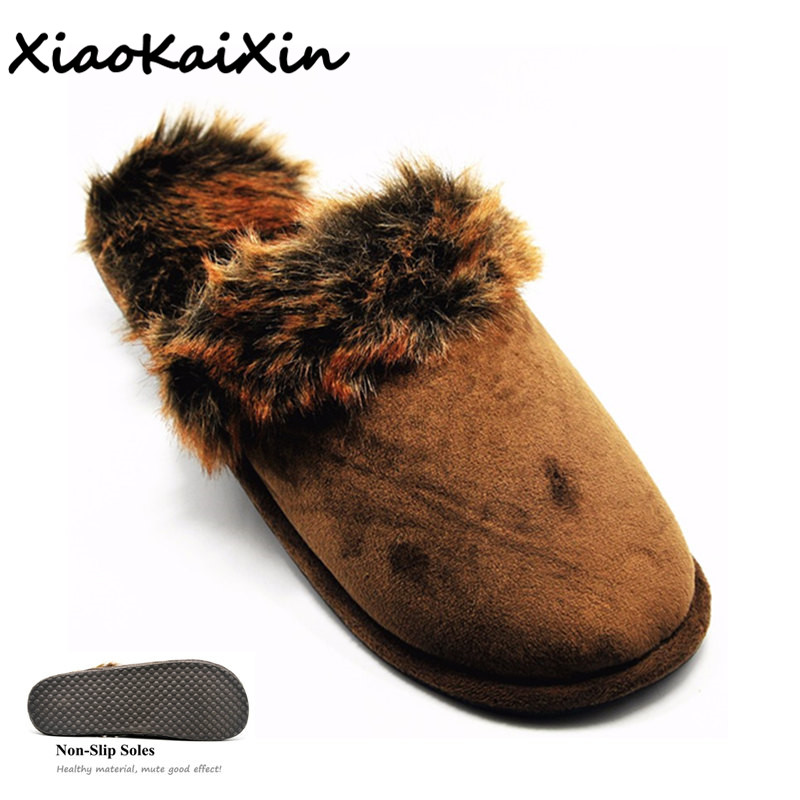 Large Size Couples House Slippers for Men Women Winter Warm Faux Suede Fur Indoor Furry Home Shoes Leopard print Bedroom Slipper