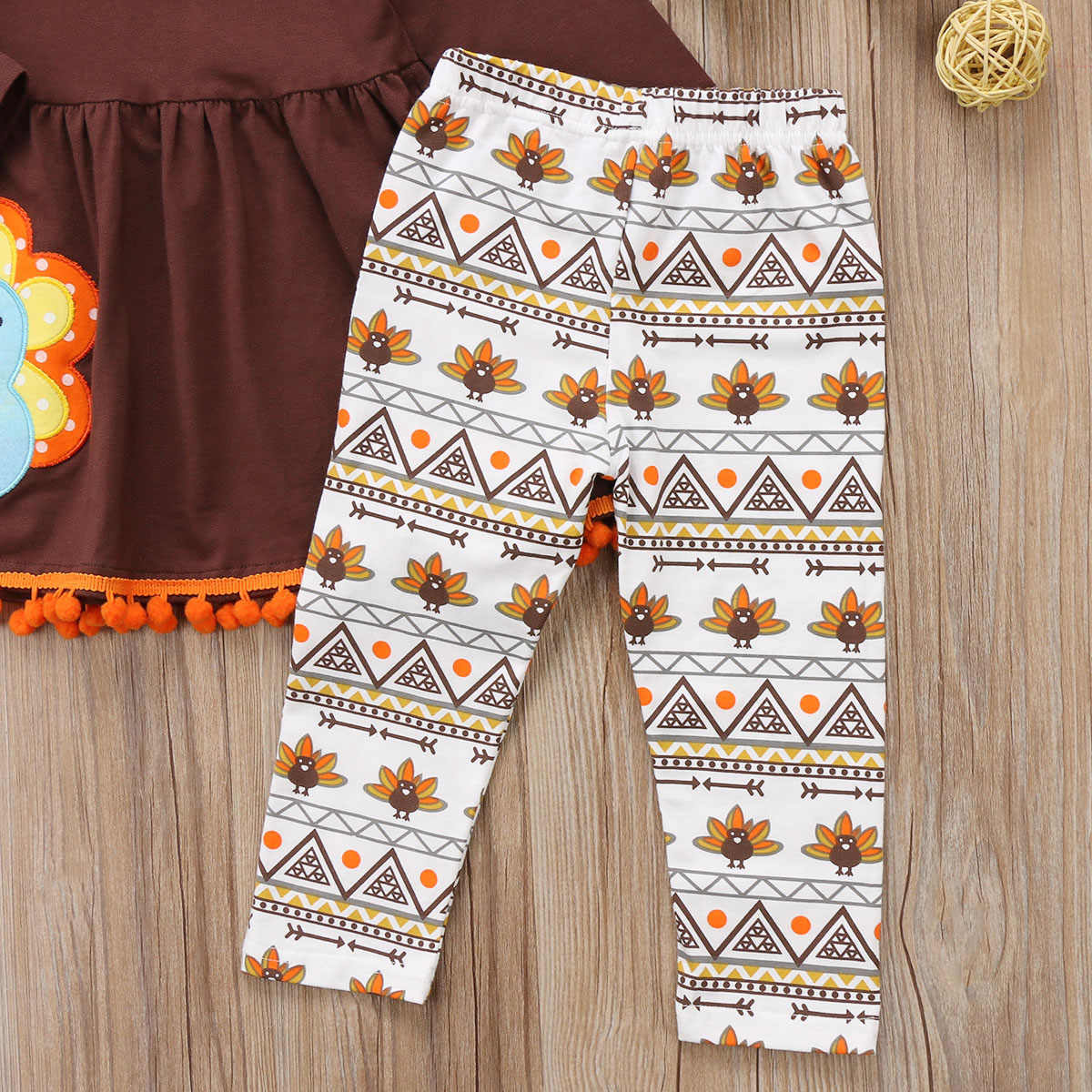 e9a502a63f663 cool Kids Baby Girls Clothes Thanksgiving Outfit turkey print sleeve brown  Dress long floral Pants Leggings clothes Set for baby
