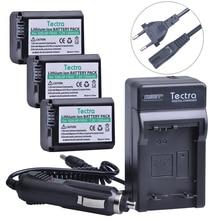 Tectra 3 PCS Baterias NP-FW50 NPFW50 Digital + Carregador de Parede para Sony Alpha a7 a7R a7 II a7R a7S II II a7S a5000 a5100 a6000 etc