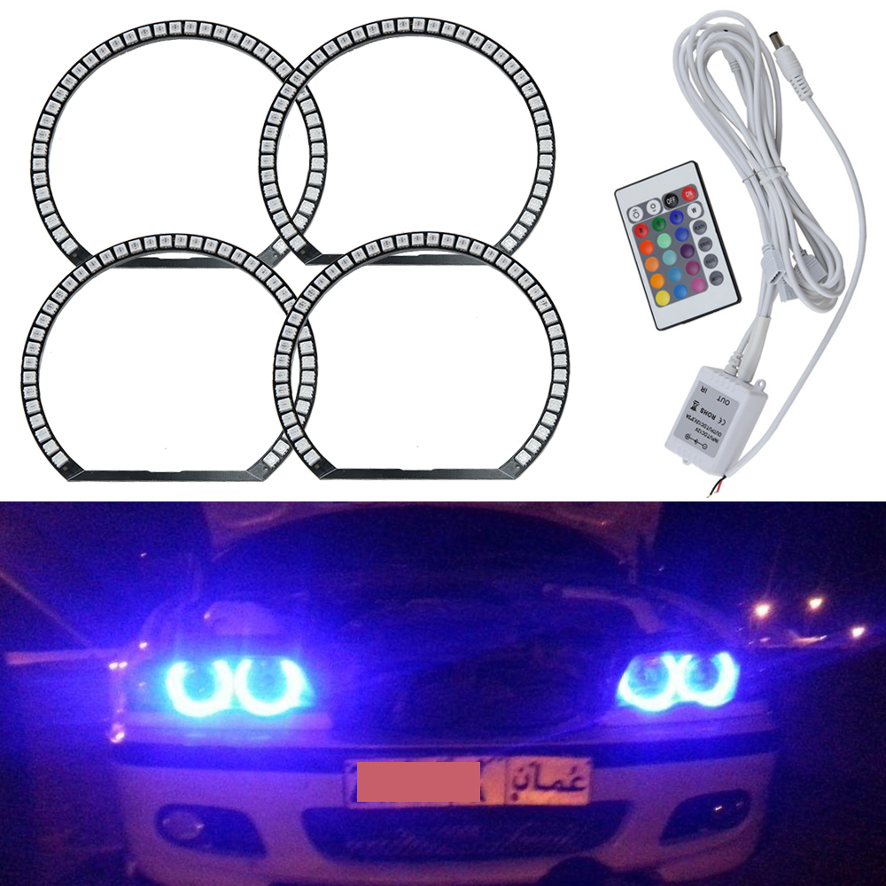 Super Bright 5050 SMD RGB LED angel Eye for BMW E46,Color Changing LED Angel Eyes,Multi Color LED Halo Rings with RF Controller 4 90mm rgb led lights wholesale price led halo rings 12v 10000k angel eyes rgb led angel eyes for byd for chery for golf4